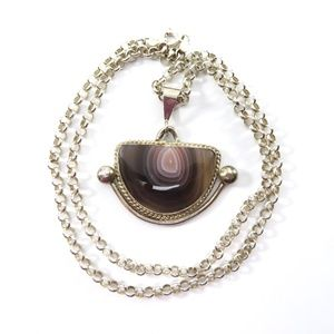 Jewelry - Banded Agate Pendant Necklace, Sterling, Signed